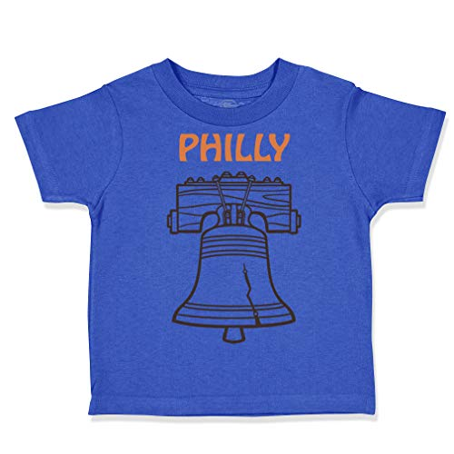 Custom Toddler T-Shirt Liberty Bell Philly Philadelphia Cotton Boy & Girl Clothes Funny Graphic Tee Royal Blue Design Only 18 Months