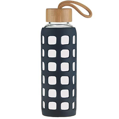 Cleesmil Sport Bouteille en Verre, Gourde Verre sans BPA avec Manchon en Silicone et Couvercle en Bambou 360 ML (Bleu Marin)