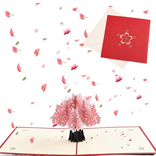 Sethexy 3D Ciliegio Biglietti d'auguri con buste Apparire San Valentino Carta di anniversario Regalo Biglietto da visita per Famiglia Fidanzata Fidanzato Moglie Marito Amici Famiglia