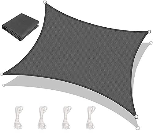 Emooqi Toldo Vela De Sombra, Vela De Sombra Rectangular HDPE 2x3M, Toldo Rectangular/Toldo Vela Parasol Protección Rayos UV y Transpirable Toldo Resistente para Patio, Exteriores, Jardín -Gris Oscuro