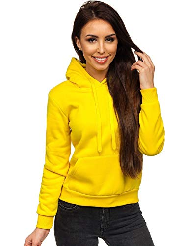 BOLF Mujer Sudadera con Capucha Cierre de Cremallera Estilo Deportivo J.Style W02 Amarillo XL [A1A]