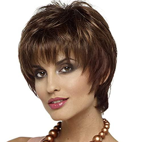 Pelucas cortas para mujer, marrones onduladas naturales pelucas de pelo sintético resistente al calor Marrón Cabello en capas con flequillo para mujer Ropa diaria Photo Color,24cm