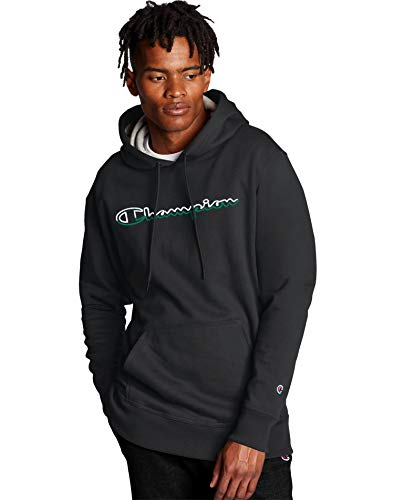 Champion Men's Powerblend Graphic Hoodie, Black, Large