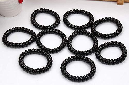 10pcs anneau de cheveux sans trace noir
