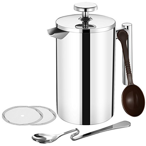 TOPELEK 500ML Cafetiere French Press Coffee Maker, Stainless steel Double Wall Tea Maker, Measure Scoop, 2 Filter Screen for home and office