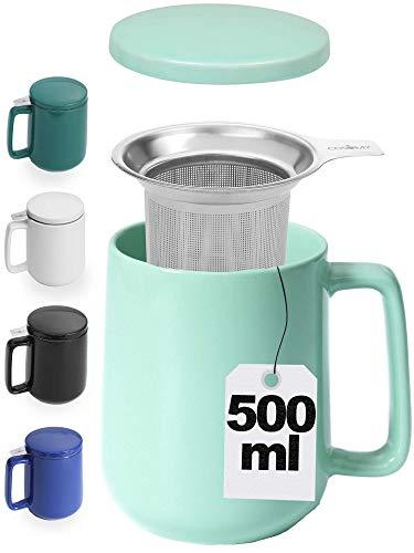 Teetasse mit Sieb und Deckel - Keramik Türkis - Hält Lange warm - 500ml XXL Groß - Spülmaschinenfest