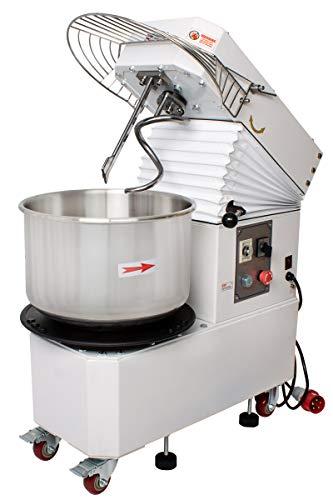 Beeketal \'BTK20\' Profi Teigknetmaschine 20l auf Rollen, mit Spiralkneter und rotierender Schüssel (Knethaken 103 oder 156 U/min, Schüssel 11 oder 16 U/min), 20l Gesamtvolumen für max. 8 kg Mehl