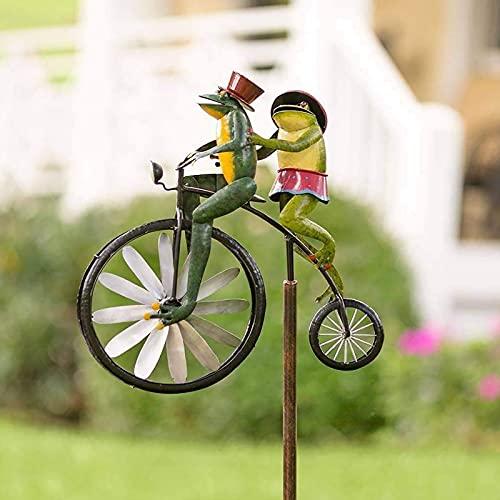 Zller2587 Garten Dekor FröSche Auf Einem Vintage Fahrrad, FröSche Auf Motorrad Metall Garten Wind Spinner, Verwendet FüR Hof Terrasse Rasen Dekoration B