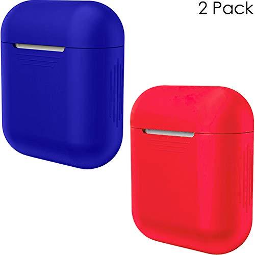 APSKINS Silikon-Schutzhülle für Apple AirPods, 2 Stück Red and Admiral Blue