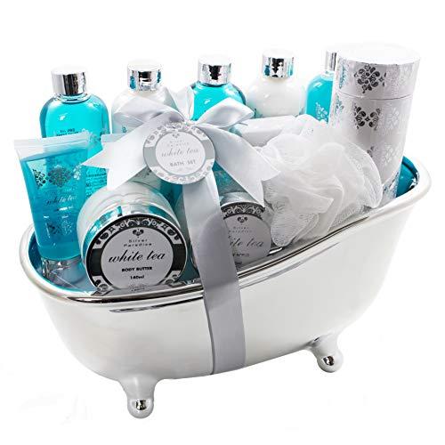 Accentra Badeset Geschenk in edlem Design & wohltuendem White Tea Duft, Deko-Badewanne gefüllt mit Pflegeprodukten für Badespaß, Wellness, Körperpflege & Hautpflege