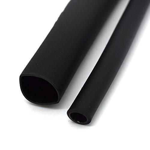 1/2 Inch Ratio 3:1 Waterproof Double Wall Heat-Shrinkable Tube with Adhesive,Thickening Heat Shrinkable Casing,Marine Heat Shrink Tube,Black