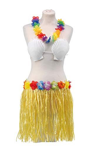 Trendfinding - Costume hawaiano, 4 pz, con gonna, collana, reggiseno con conchiglie e fermaglio per capelli BUNT_BLAU
