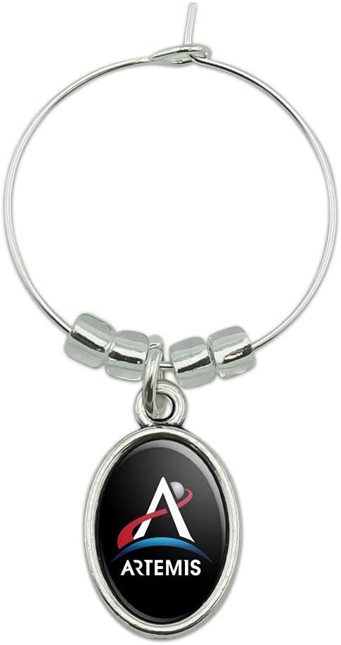 NASA Artemis outlet Moon Logo Wine NEW before selling ☆ Charm Drink Glass Oval Marker