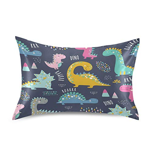 KEEPREAL Cute Funny Kids Dinosaurs Satin Pillowcase for Hair and Skin Silk Pillowcase - Slip Cooling Satin Pillow Covers with Envelope Closure, Queen Size(20x30 inches)