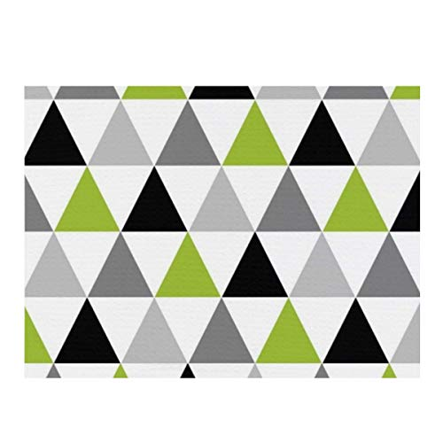 BIBIBA Dish Drying Mat, Lime Green Gray Black Triangles On White Absorbent Reversible Microfiber Mat Dish Dry Pad Protector for Kitchen Countertop 12x16inch