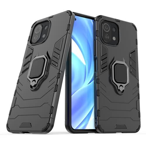 Wuzixi Funda para Xiaomi Mi 11 Lite. Anti-Arañazos Cubierta Protectora, Carcasa Viene con Una Soporte Plegable, 2 en 1 Híbrida Robusto Case, Cover para Xiaomi Mi 11 Lite.Negro