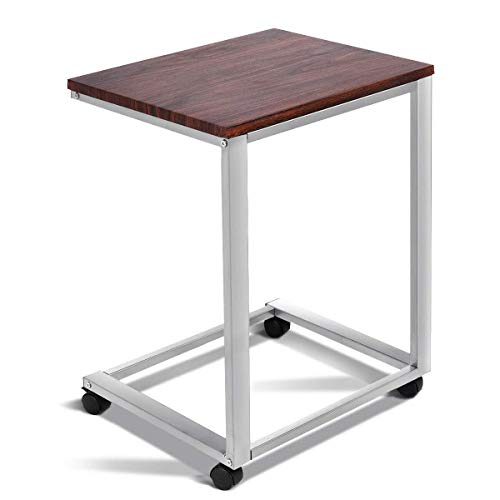 TANGKULA Sofa Side Table, Home Office Sofa Couch Side Table End Table, Rolling Laptop Notebook Stand, Overbed Snack Rolling C Table