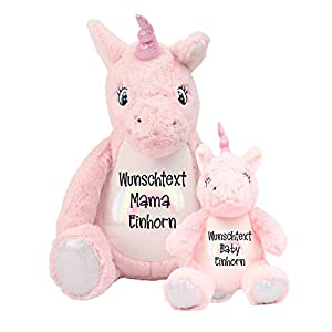 Einhorn Kuscheltier Mutter Baby Kind Geschenk Set personalisiert