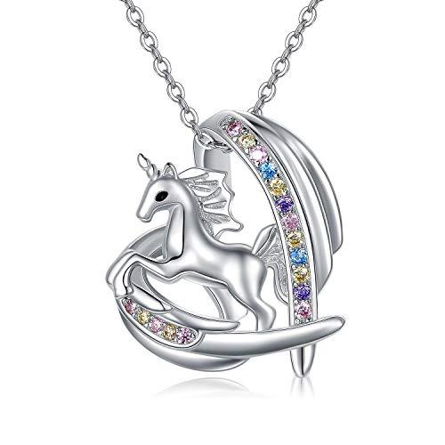 Collar de unicornio de plata de ley con colgante de unicornio y unicornio y corazón, regalo para el día de San Valentín, regalo de Navidad para mujeres, niñas