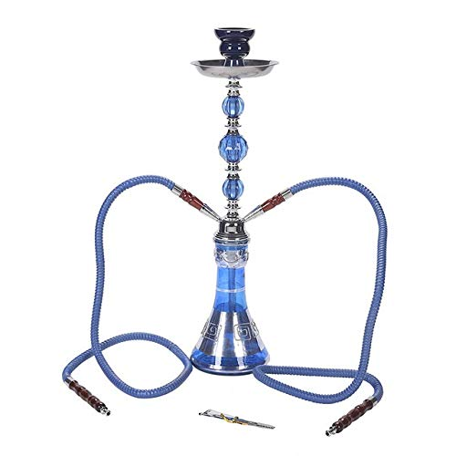 HUANGRONG Sabor Vidrio Hookah Shisha árabe Copa Sheesha Chicha Accesorios de Fumar Hokkah for Shisha cachimba Conjunto Doble Pipa del Humo (Color : Blue)