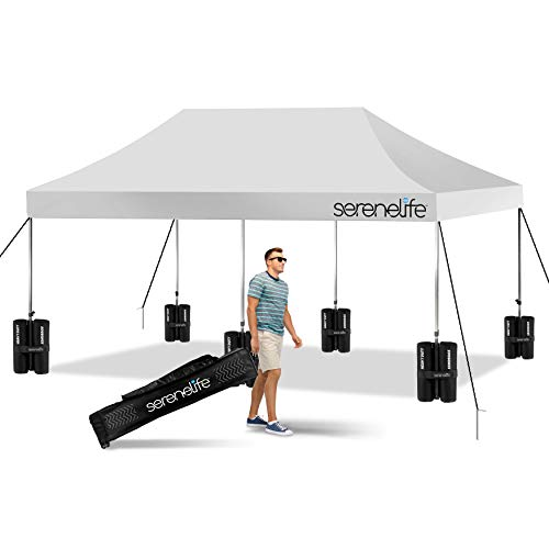 Pop Up Canopy Tent 10x20 - Commercial Instant Shelter Foldable Collapsible Sun Shade Canopy Pop Up Tent w Waterproof Tent Top, Portable Carry Bag & Sand Bag - SereneLife SLGZ20W (White)