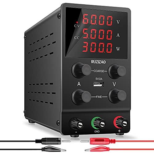 RUZIZAO Bloc d'alimentation de laboratoire réglable - 60 V 5 A - Variable - Écran LED à 4 chiffres - Haute précision - Port USB 5 V/2 A