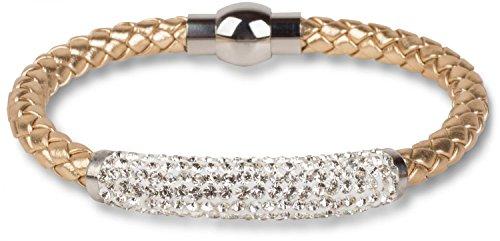 styleBREAKER geflochtenes Armband mit Strasssteinen und Magnetverschluss, Flechtarmband, Damen 05040047, Farbe:Gold