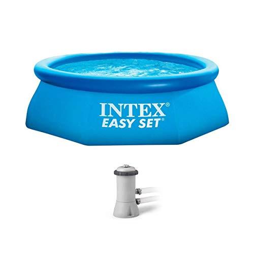 Intex piscina poligonal inflable por encima del suelo de 8 pies x 30 pulgadas con bomba de filtro