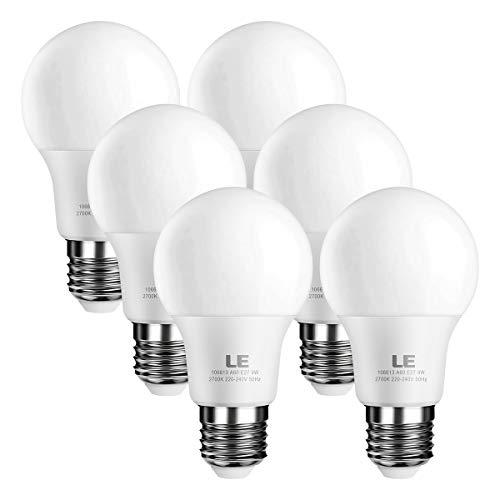 LE Lighting EVER Ampoules LED E27, 9W 800lm, Blanc Chaud 2700K, Equivaut à Ampoule Incandescente 60W, Non-Dimmable, Lot de 6
