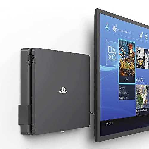 Monzlteck - Soporte de Pared para PS4 Slim, Cerca o detrás de TV, Ahorra Espacio, se Adapta Perfectamente a PlayStation4 Slim, fácil de Instalar