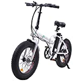 """ECOTRIC Electric 20' X4"""" Folding Bike Fat Tire Bicycle 36V 12Ah 500W Lithium Battery Beach Snow Mountain Ebike Moped (White & Black)"""