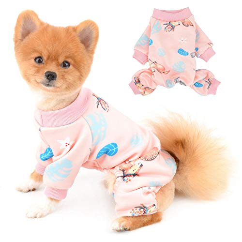 SELMAI Pajamas for Dogs Small Medium Cats Reindeer Pjs Girl Boy Fleece Warm Rompers Elk Pet Jumpsuits Cozy Bodysuit Puppy Chihuahua Clothes four Legs Apparel Homewear Cold Weather Winter Pink L