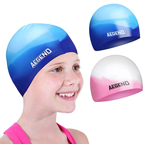 aegend Kids Swim Cap (Age 2-4), 2 Pack, Blue & Pink