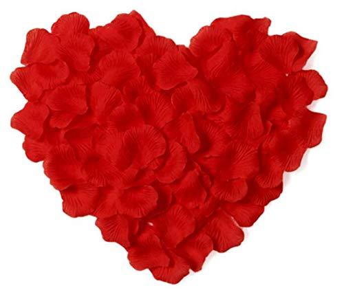 RuiChy Lot de 1000 pétales de Rose artificielles en Soie pour Mariage, fête, fête, fête, Romantique, Saint-Valentin, Anniversaire de Mariage, fête Rouge