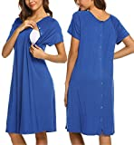 Ekouaer Women's Nursing Nightgown Maternity Nightshirts Short Sleeve Birthing Gown with Snap(Snorkel Blue,M)