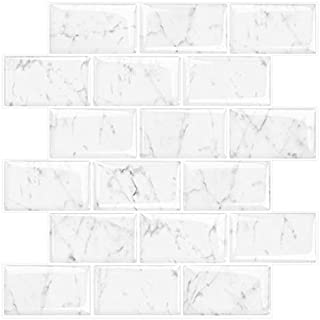STICKGOO Marble Look Peel and Stick Subway Tile, Stick on Wall Tiles, Self-Adhesive Kitchen backsplash (Pack of 5, Thicker Design)
