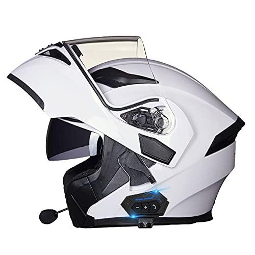 NS Casco De Moto Integral Modular Bluetooth Casco con Visera De Doble Lente Casco Aprobado por Dot Casco Abatible para Radio FM MP3 Incorporada Intercomunicador (Color : B, Size : XXXL)