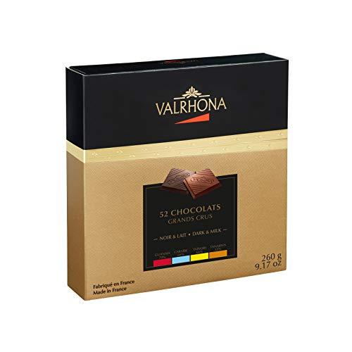 VALRHONA - Schachtel 4 Grands Crus découverte 52 Täfelchen - Milchschokolade - Tafel Schokolade - 260g
