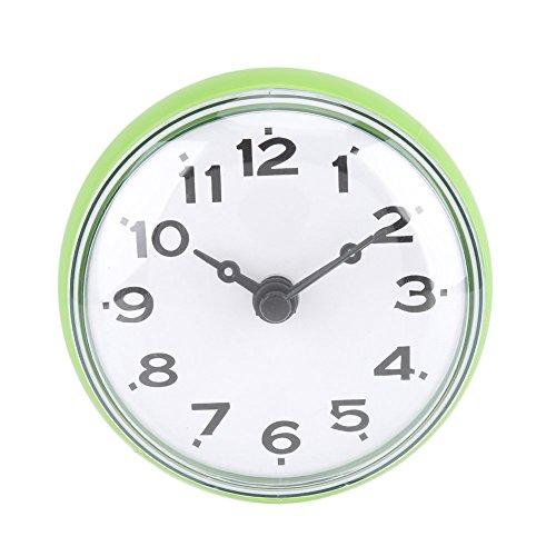 Impermeabile orologio con ventosa doccia tondo orologio quadrante digitale per bagno doccia bagno cucina di Arabica banduhr montaggio a parete, verde