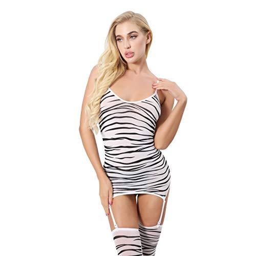Lidogirl Body de malla transparente para mujer, ropa interior de manga larga, lencería