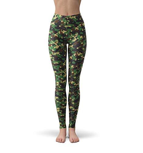 MAOYYMYJK Militair camouflagepatroon gedrukte leggings voor vrouwen meisjes leger geborsteld boterzacht plus grootte hoge taille slanke fitness leggings