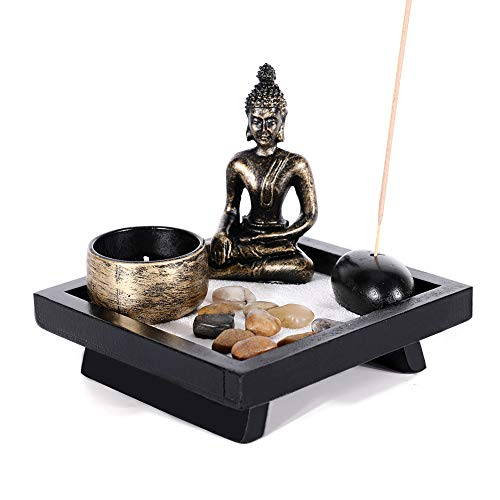 GoMaihe Giardino Giapponese Zen con Buddha, Porta Incenso Vintage Bruciatore di Incenso da Tavolo Vassoio Porta Candele per Feng Shui, Oggetti Rilassanti, Idee Regalo Originali, Regali di Natale