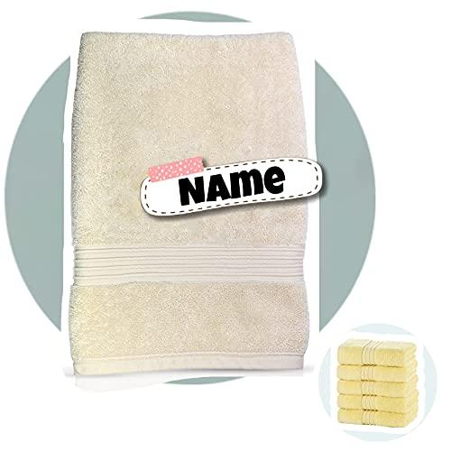 Premium Handtuch Bestickt mit Namen | extra dick 700g /m2 | 50 x 85 cm | individuell mit Ihrem Name | personalisiert (Creme)