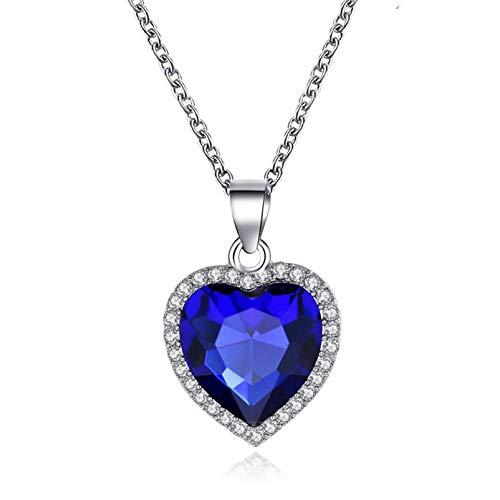 Titanic Herz des Ozeans Halskette,ZBOMR Klassisches Herz des Ozeans Halskette für Frauen Kleine Saphirherz Anhänger Halskette Hochzeit Prom Schmuckzubehör (Blau)