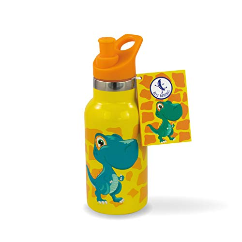 Blue Bananas Bouteille d'eau, en acier inoxydable, 350ml, pour enfants, de qualité supérieure, à vide, motif de dinosaure