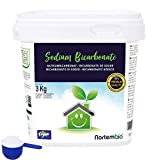 Nortembio Bicarbonate de Soude 3 Kg, Intrant de la Production Biologique, sans Aluminium, Qualité Supérieure, 100% Naturel. E-Book Inclus.