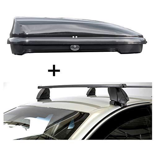Dachbox VDPFL320 320 Liter schwarz glänzend + Dachträger K1 MEDIUM kompatibel mit Nissan Qashqai (J11) (5Türer) ab 14