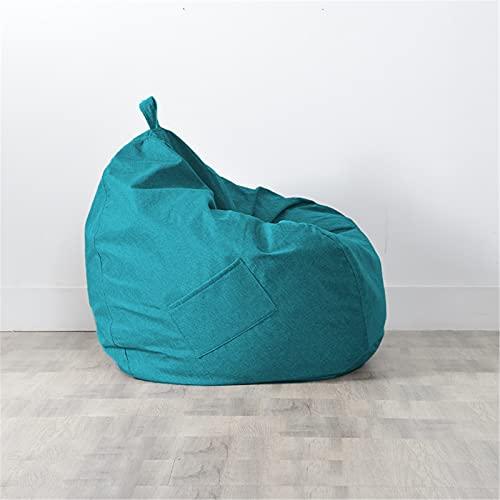 Puff Pera sin Relleno para Adultos y Niños, Chickwin Exterior y Interior Bean Bag Bolsa de Frijol para Silla Tumbona Perezosa Funda para Sillón Cubierta de Sillón (Azul Verde,90x100cm)