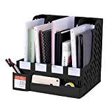DaKos Plastic 4 Compartments File Rack Paper Holder, Desktop Organizers, Letter Organizer with Pen Holder, Magazine Book Holder Organizer (Black)
