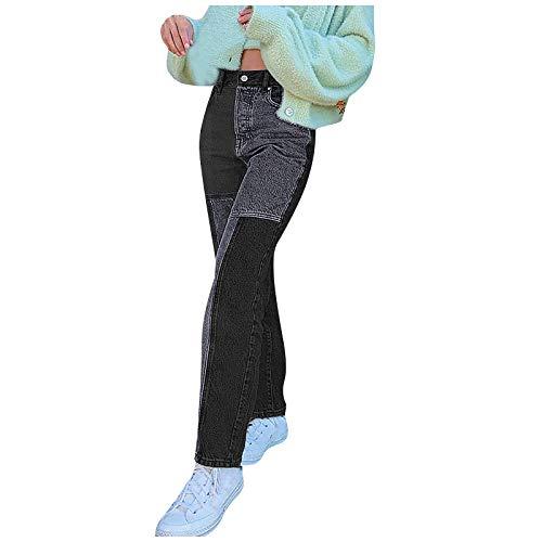 MASZONE High Waisted Jeans for Women Y2K Fashion Denim Pants Patchwork Wide Leg Jeans Vintage Slim Straight Denim Jeans Gray